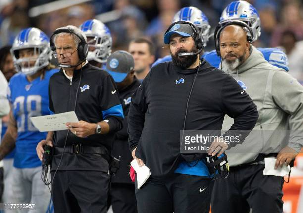 Detroit Lions head football coach Matt Patricia watches the action on the field during the fourth quarter of the game against the Minnesota Vikings...