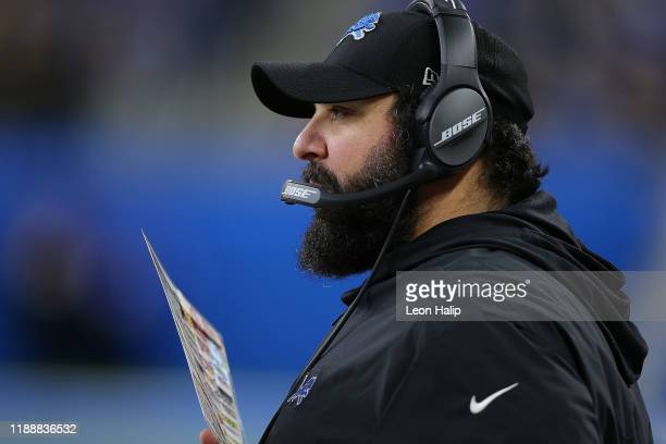 Detroit Lions Head Football Coach Matt Patricia watches the action from the sidelines during the game against the Tampa Bay Buccaneers at Ford Field...