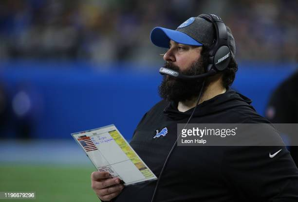 Detroit Lions Head Football Coach Matt Patricia watches the action during the game against the Green Bay Packers at Ford Field on December 29 2019 in...