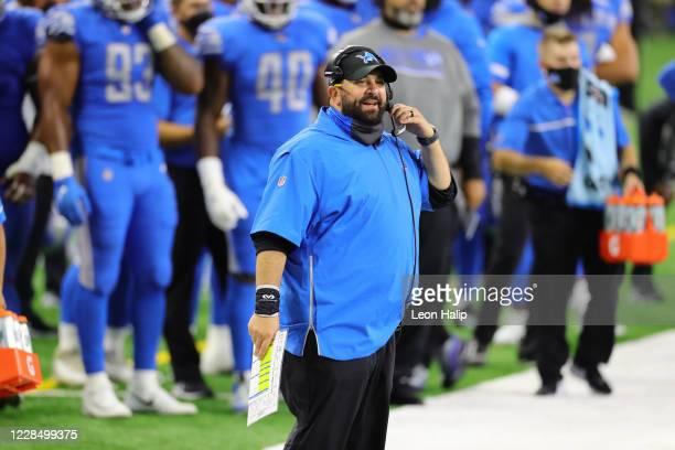 Detroit Lions head football coach Matt Patricia watches the action during the fourth quarter of the game against the Chicago Bears at Ford Field on...