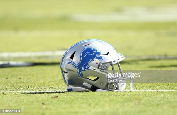 Detroit Lions helmet lies on the field before their game Oakland Raiders at RingCentral Coliseum on November 03, 2019 in Oakland, California.