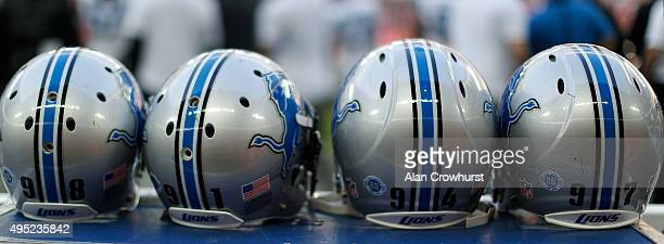 Detroit Lions helmets sit during the NFL game between Kansas City Chiefs and Detroit Lions at Wembley Stadium on November 01 2015 in London England