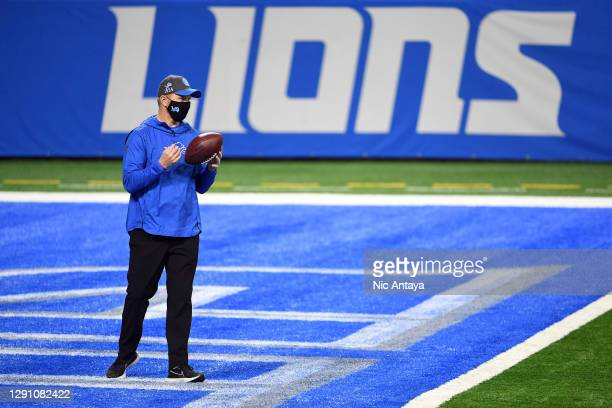 Detroit Lions interim head coach Darrell Bevell stands in the end zone before the game against the Green Bay Packers at Ford Field on December 13,...