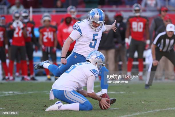 Detroit Lions kicker Matt Prater kicks the game winning field goal in the fourth quarter of the NFL game between the Detroit Lions and Tampa Bay...