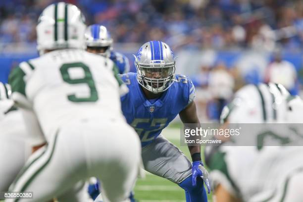 Detroit Lions linebacker Antwione Williams waits for the snap of the ball during a preseason game between the New York Jets and the Detroit Lions on...