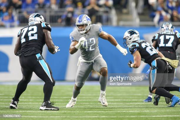 Detroit Lions linebacker Devon Kennard rushes during a regular season game between the Carolina Panthers and the Detroit Lions on November 18 2018 at...