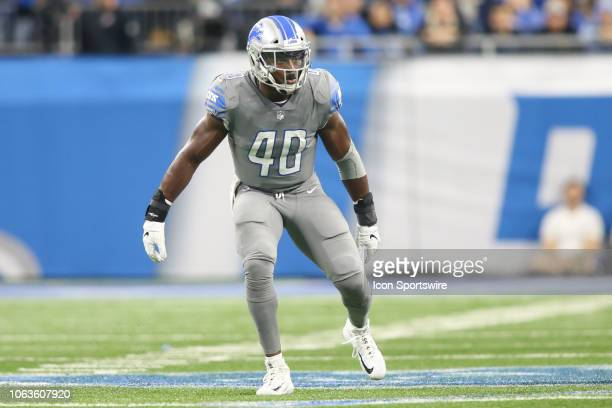 Detroit Lions linebacker Jarrad Davis rushes during a regular season game between the Carolina Panthers and the Detroit Lions on November 18 2018 at...