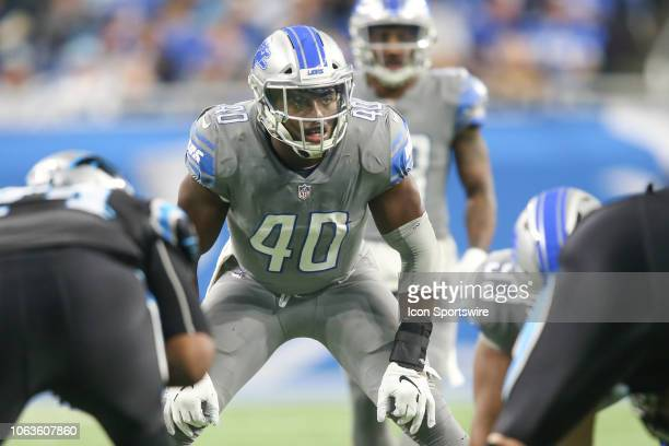 Detroit Lions linebacker Jarrad Davis waits for the play during a regular season game between the Carolina Panthers and the Detroit Lions on November...