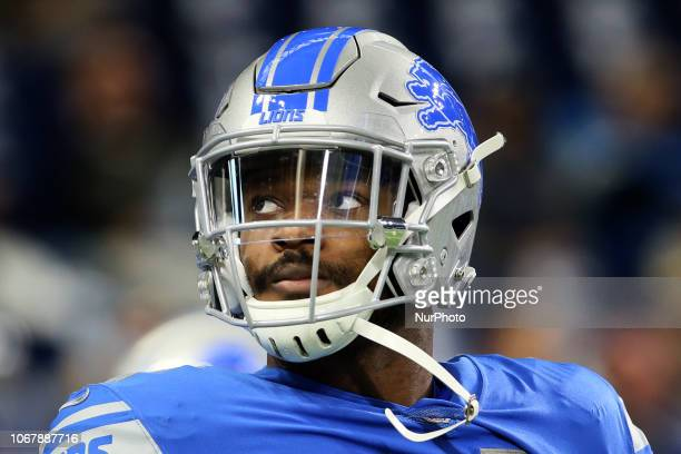 Detroit Lions linebacker Nicholas Grigsby looks on during warmups before the first half of an NFL football game against the Los Angeles Rams in...