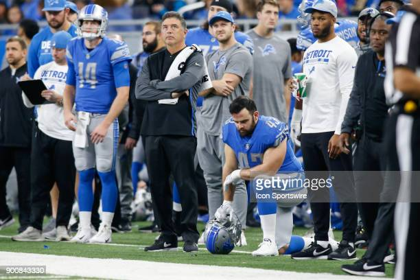 Detroit Lions linebacker Nick Bellore kneels on the sidelines during a game between the Green Bay Packers and the Detroit Lions on December 31 2017...