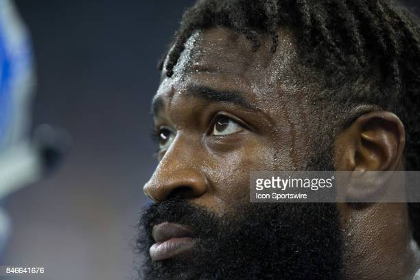 Detroit Lions linebacker Steve Longa looks on during game action between the Arizona Cardinals and the Detroit Lions on September 10, 2017 at Ford...
