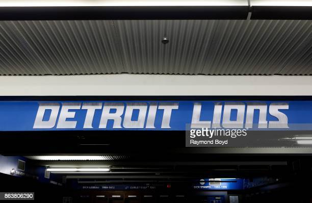 Detroit Lions locker room at Ford Field, home of the Detroit Lions football team in Detroit, Michigan on October 12, 2017.