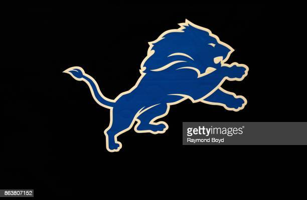 Detroit Lions Logo at Ford Field home of the Detroit Lions football team in Detroit Michigan on October 12 2017