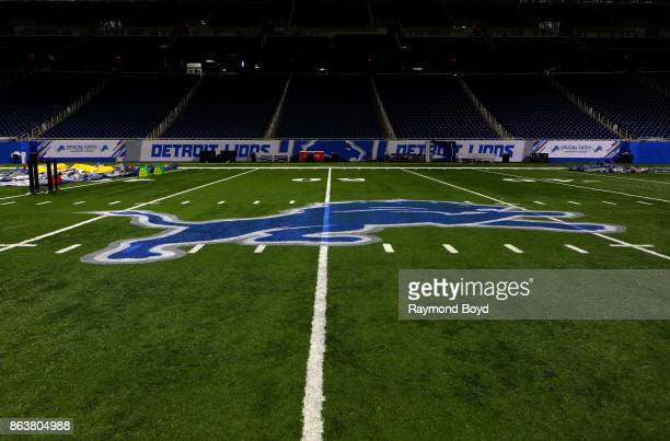 Detroit Lions logo at mid-field at Ford Field, home of the Detroit Lions football team in Detroit, Michigan on October 12, 2017.