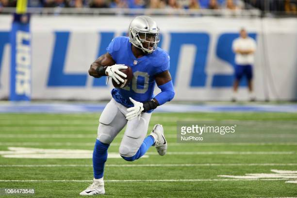 Detroit Lions middle linebacker Jarrad Davis carries the ball after Detroit Lions defensive back DeShawn Shead and Detroit Lions strong safety...