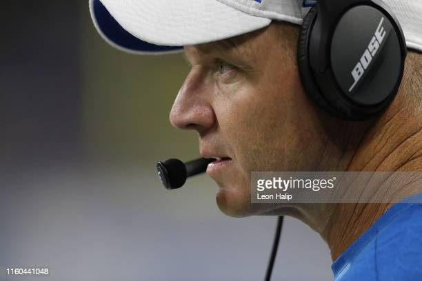 Detroit Lions Offensive Coordinator Darrell Bevell calls plays during the second quarter of the preseason game against the New England Patriots at...