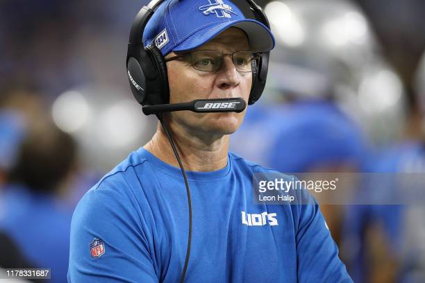 Detroit Lions offensive coordinator Darrell Bevell watches the action on the field during the third quarter of the game against the Kansas City...