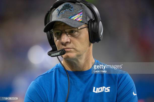 Detroit Lions Offensive Coordinator Darrell Bevell watches the action during the first quarter of the game against the New York Giants at Ford Field...
