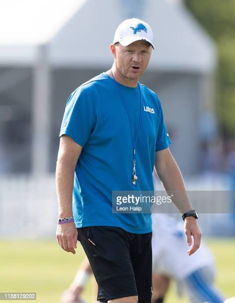 Detroit Lions Offensive Coordinator Darrell Bevell watches the warms ups during the Detroit Lions Training Camp on July 27, 2019 in Allen Park,...