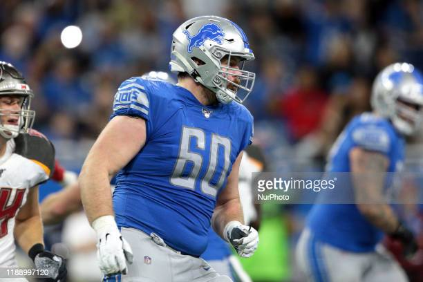 Detroit Lions offensive guard Graham Glasgow is seen during the second half of an NFL football game against the Tampa Bay Buccaneers in Detroit...