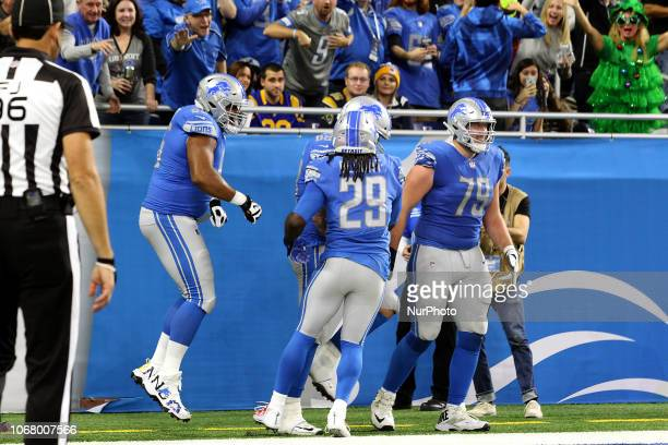 Detroit Lions offensive guard Tyrell Crosby Detroit Lions offensive tackle Taylor Decker Detroit Lions running back LeGarrette Blount and Detroit...