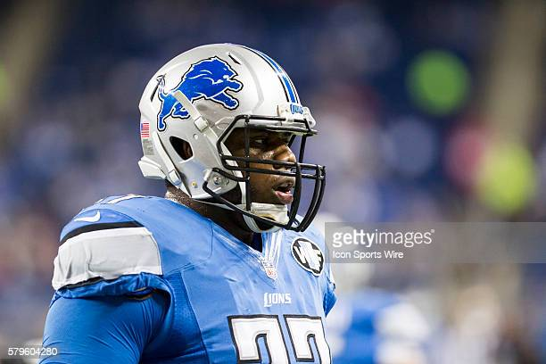 Detroit Lions offensive lineman Cornelius Lucas is seen during game action between the San Francisco 49ers and the Detroit Lions during a regular...
