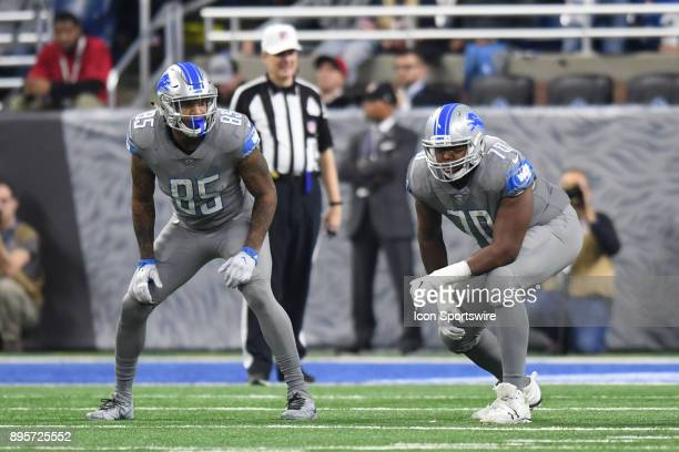 Detroit Lions offensive tackle Corey Robinson and Detroit Lions tight end Eric Ebron in action during a game between the Chicago Bears and the...