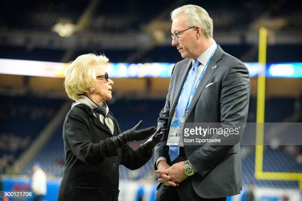Detroit Lions owner Martha Firestone Ford speaks with team president Rod Wood prior to a NFL football game between Detroit and Green Bay on December...