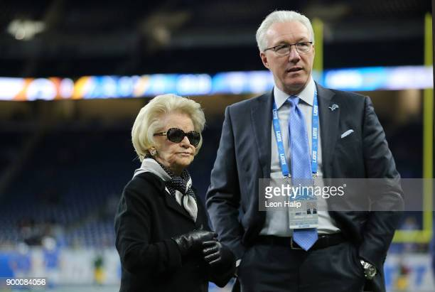 Detroit Lions owner Martha Firestone Ford with Lions president Rod Wood on the sidelines at Ford Field prior to the start of the against the Green...