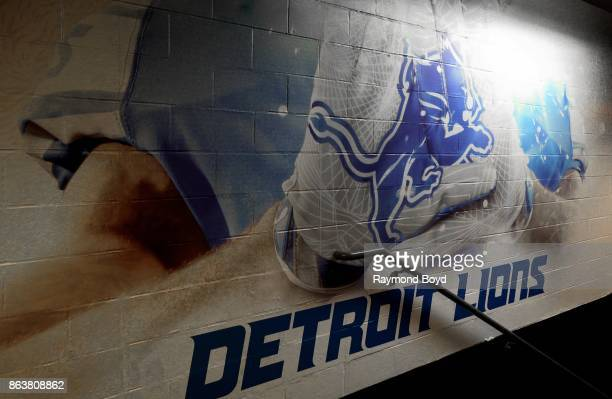 Detroit Lions painting at Ford Field, home of the Detroit Lions football team in Detroit, Michigan on October 12, 2017.