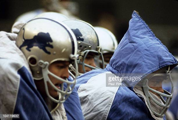 Detroit Lions players try to stay warm on the bench during the Lions 143 loss to the Washington Redskins on December 15 1968 at DC Stadium in...