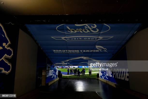 Detroit Lions players tunnel to the field at Ford Field, home of the Detroit Lions football team in Detroit, Michigan on October 12, 2017.