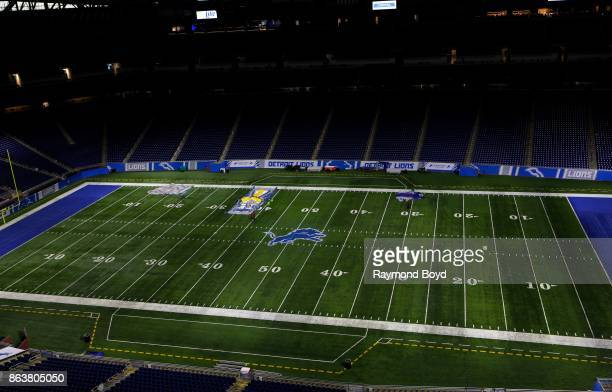 Detroit Lions playing field at Ford Field home of the Detroit Lions football team in Detroit Michigan on October 12 2017