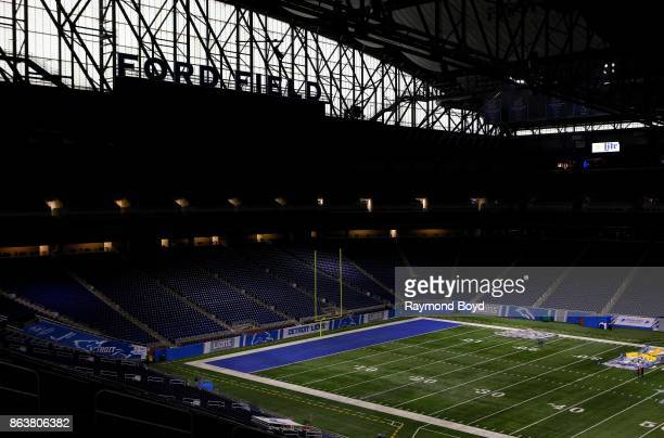 Detroit Lions playing field at Ford Field, home of the Detroit Lions football team in Detroit, Michigan on October 12, 2017.