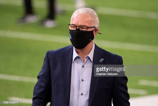 Detroit Lions president and CEO Rod Wood looks on before the game against the Minnesota Vikings at U.S. Bank Stadium on November 8, 2020 in...