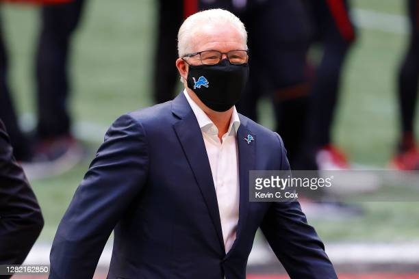 Detroit Lions president and CEO Rod Wood looks on during warmups prior to the game against the Atlanta Falcons at Mercedes-Benz Stadium on October...