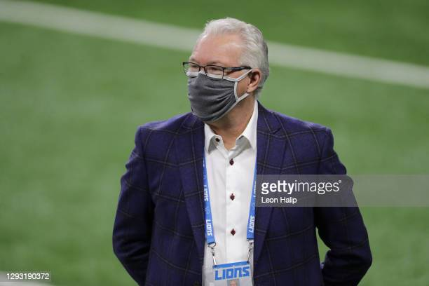 Detroit Lions president and CEO Rod Wood looks on prior to a game against the Tampa Bay Buccaneers at Ford Field on December 26, 2020 in Detroit,...