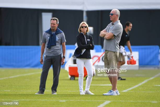 Detroit Lions President and CEO Rod Wood talks with Principal Owner and Chair Sheila Ford Hamp during the Detroit Lions preseason OTA practice on...