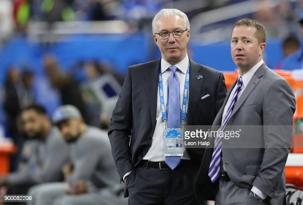 Detroit Lions president Rod Wood and General Manager Bob Quinn watch the warm ups prior to the start of the game against the Green Bay Packers on...