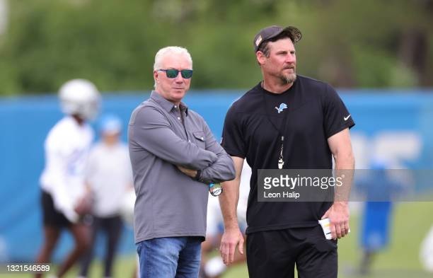Detroit Lions President Rod Wood and head football coach Dan Campbell watches the action during the afternoon practice session on June 03, 2021 in...
