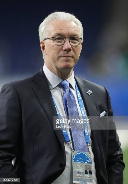 Detroit Lions president Rod Wood watches the warm ups prior to the start of the game against the Green Bay Packers on December 31, 2017 at Ford Field...