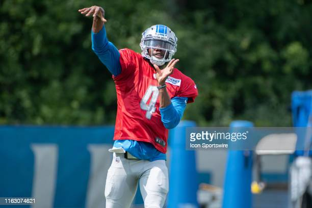 Detroit Lions QB Josh Johnson during NFL football practice on August 21 2019 at Detroit Lions Training Facilities in Allen Park MI