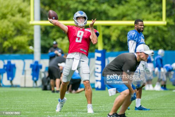 Detroit Lions QB Matthew Stafford throwing a pass during NFL football practice on August 20 2019 at Detroit Lions Training Facilities in Allen Park MI