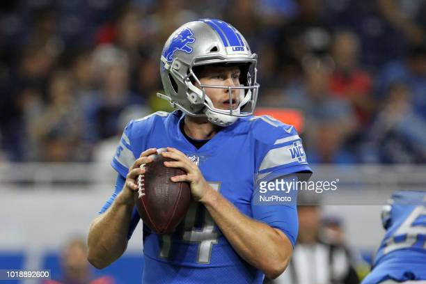 Detroit Lions quarterback Jake Rudock looks to pass during the first half of an NFL football game against the New York Giants in Detroit Michigan USA...
