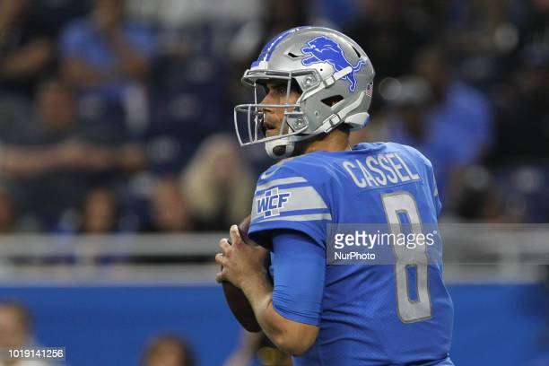 Detroit Lions quarterback Matt Cassel looks to pass during the second half of an NFL football game against the New York Giants in Detroit Michigan...