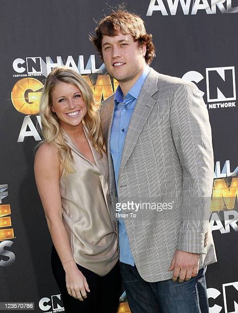 Detroit Lions quarterback Matthew Stafford and Kelly Hall attends the 1st annual Cartoon Network Hall of Game Awards at The Barker Hanger on February...