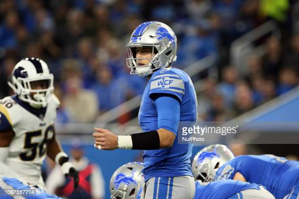 Detroit Lions quarterback Matthew Stafford call a play during the first half of an NFL football game against the Los Angeles Rams in Detroit Michigan...