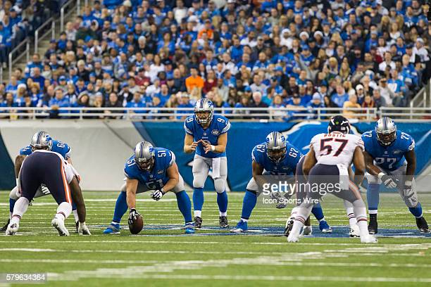 Detroit Lions quarterback Matthew Stafford calls out the snap count during game action between the Chicago Bears and Detroit Lions during a regular...