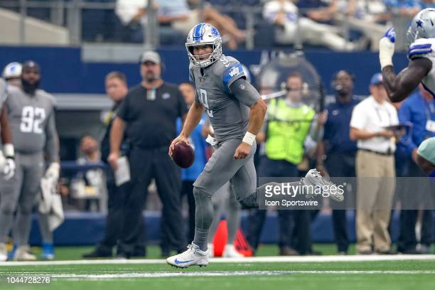 Detroit Lions quarterback Matthew Stafford scrambles during the game between the Detroit Lions and Dallas Cowboys on September 30 2018 at ATT Stadium...