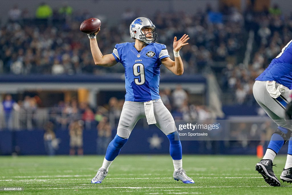 Detroit Lions Quarterback Matthew Stafford (9) throws a pass during the Monday Night Football game between the Detroit Lions and Dallas Cowboys on December 26, 2016, at AT&T Stadium in Arlington, TX. Dallas defeats Detroit 42-21.